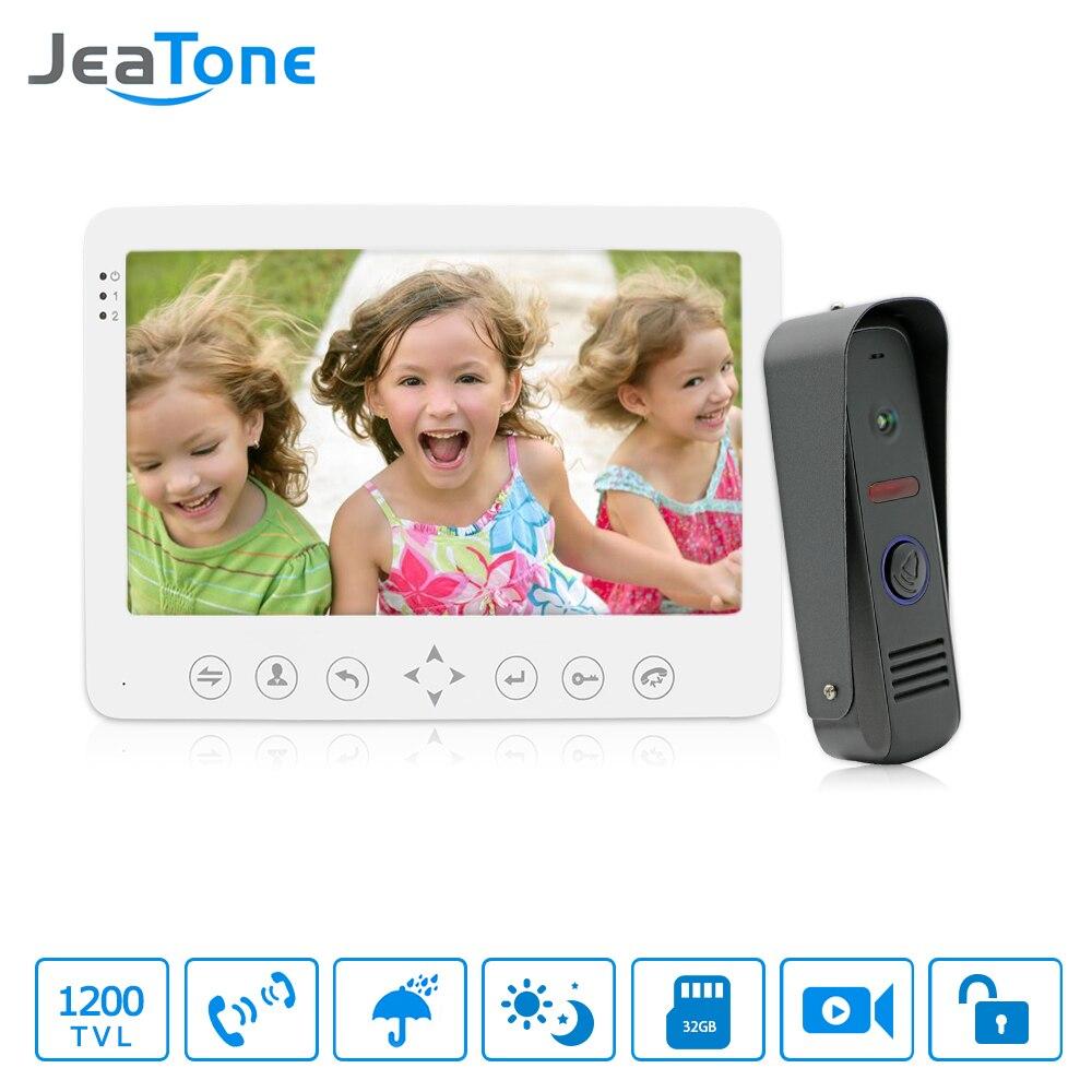 JeaTone 7 pouce HD 1200TVL Vidéo Porte Téléphone Système 1 IR Nuit Sonnette Caméra et 1 Tactile Bouton Mains- livraison Moniteur Interphone Kit