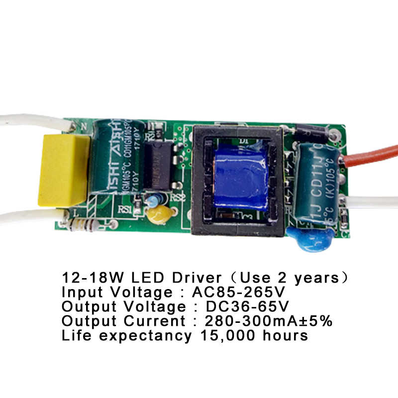 1-3 w, 4-7 w, 8-12 w, 15-18 w, 20-24 w, 25-36 w led driver fonte de alimentação embutida iluminação atual constante 110-265 v saída 300ma transforme