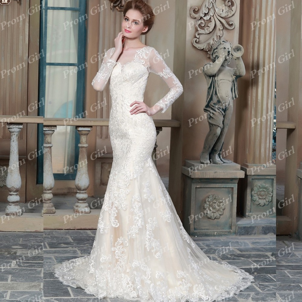 Lace Mermaid Wedding Dress Long Sleeve Scoop Sheer Top Bridal Gown See Though Back Bride: Wedding Dress Scoop Neck Top At Websimilar.org