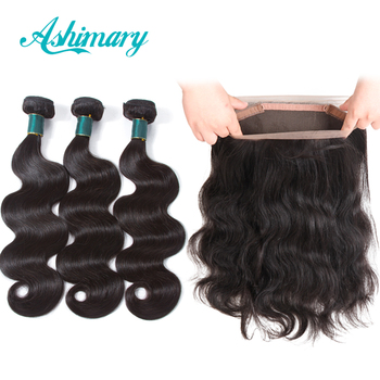 Ashimary 360 Frontal with Bundles Peruvian Body Wave Human Hair 3 Bundles with 360 Lace Frontal Closure Remy Hair Extensions image