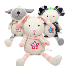 High quality cute creative woolen appease doll rabbit sheep baby cartoon animal plush pendant toy built-in bell suitable for 0M