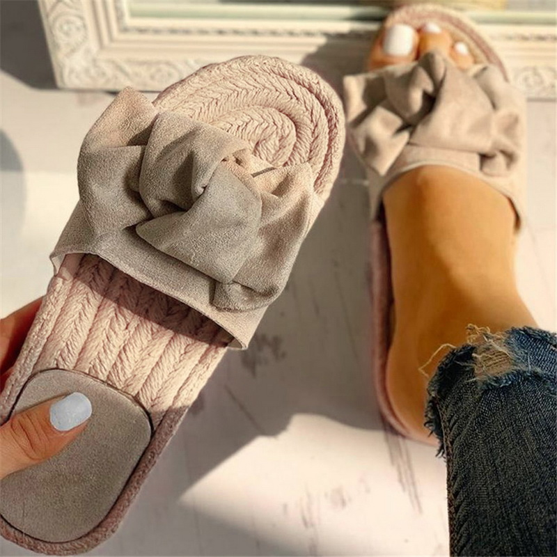 Puimentiua Women Slippers Bow Summer Sandals Indoor Outdoor Linen -flops Beach Women Shoes Female Flat Sandals Drop shipping