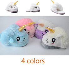 Unicorn Slippers Unisex Warm White House Fluffy Animal Slippers Lovely Fuzzy Winter Pantoufle Licorne Funny Christmas Slippers