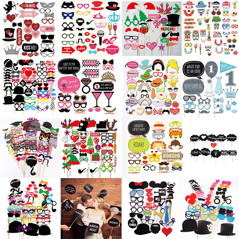 Wedding DIY Decoration Photo Booth Props Funny Mask Glasses Mustache Lip On A Stick Baby Shower Wedding Birthday Party Supplies цена 2017