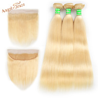 Ангел Грейс волосы remy 613 Связки с фронтальной бразильские прямые человеческие волосы 3 Связки с фронтальной блондинка Связки с фронтальной