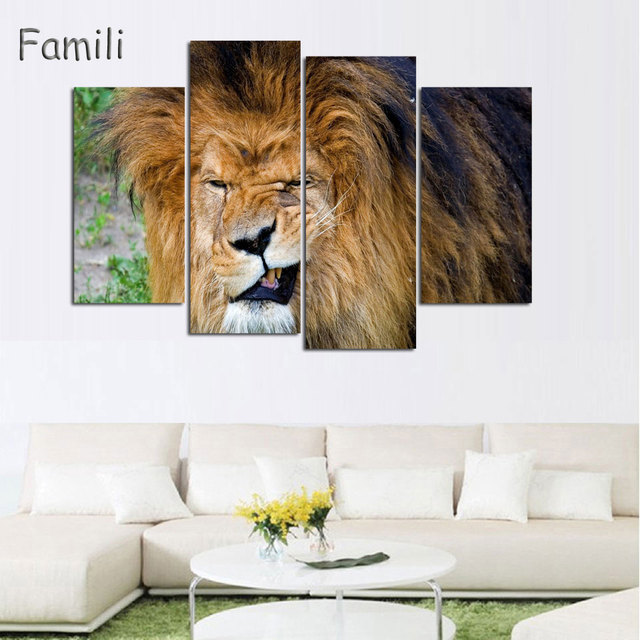 piece animals lion canvas painting modern hanging art lion king