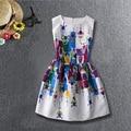 MultiColor de Impresión Estilo de la Marca Vestidos Para Niña Vestido de Partido Adolescentes Niños de La Manera de La Boda del Color de la Muchacha Ropa de Los Niños