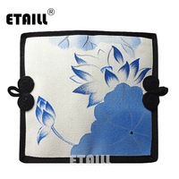 ETAILL Blue And White Porcelain Hand Painted Wallet Women Clutch Long Purse Chinese Wind Flower Ladies