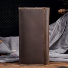 Retro mad horse skin thin men long Qianbaotou leather hand bag business wallet mens 358
