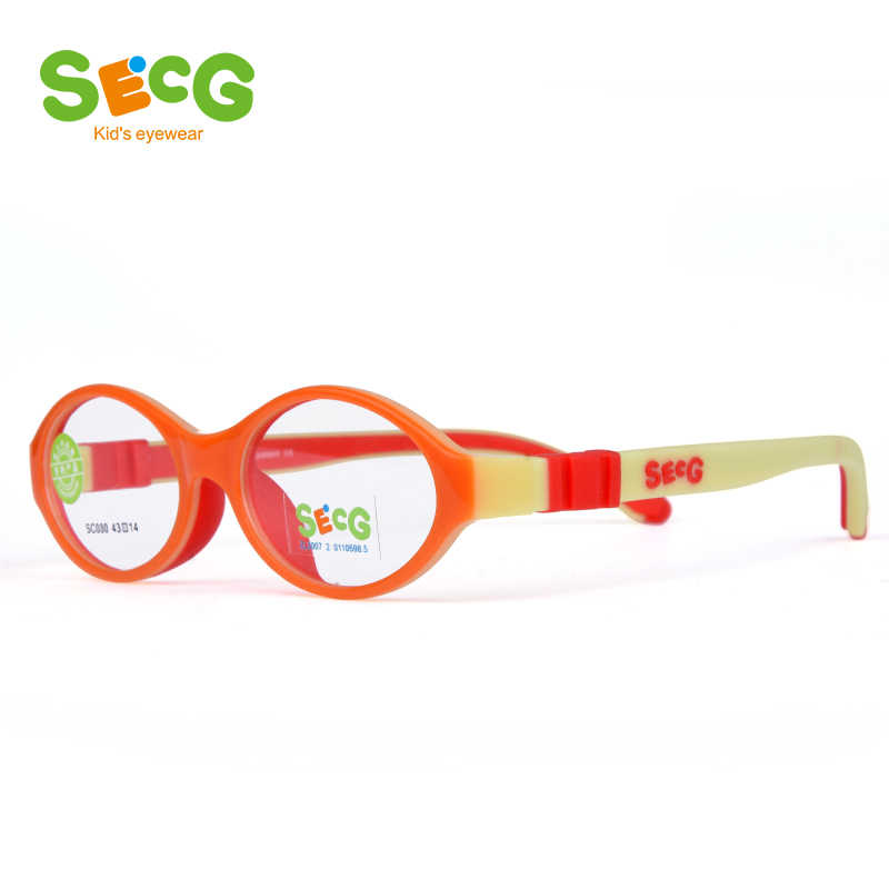 SECG Flexible Soft Kids Optical Frame Toddler Children Round Myopia Glasses for Sight Spectacle Frames Silicone No Screw Gafas