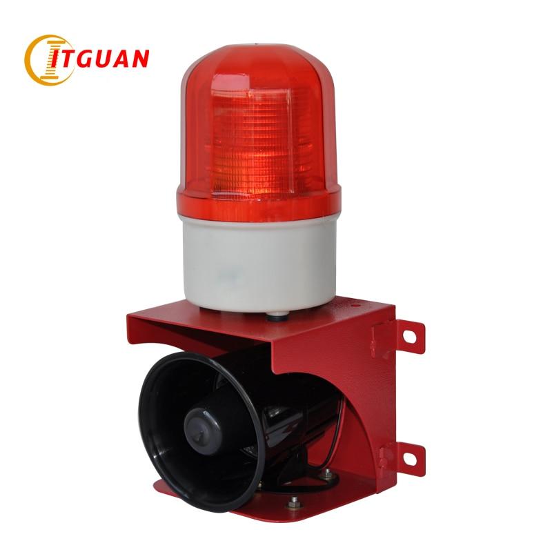 Купить с кэшбэком TGSG-110 Small Sound And Light Alarm DC12V/24V/AC220V With Siren Tone 110dB  siren safety alarm security kit