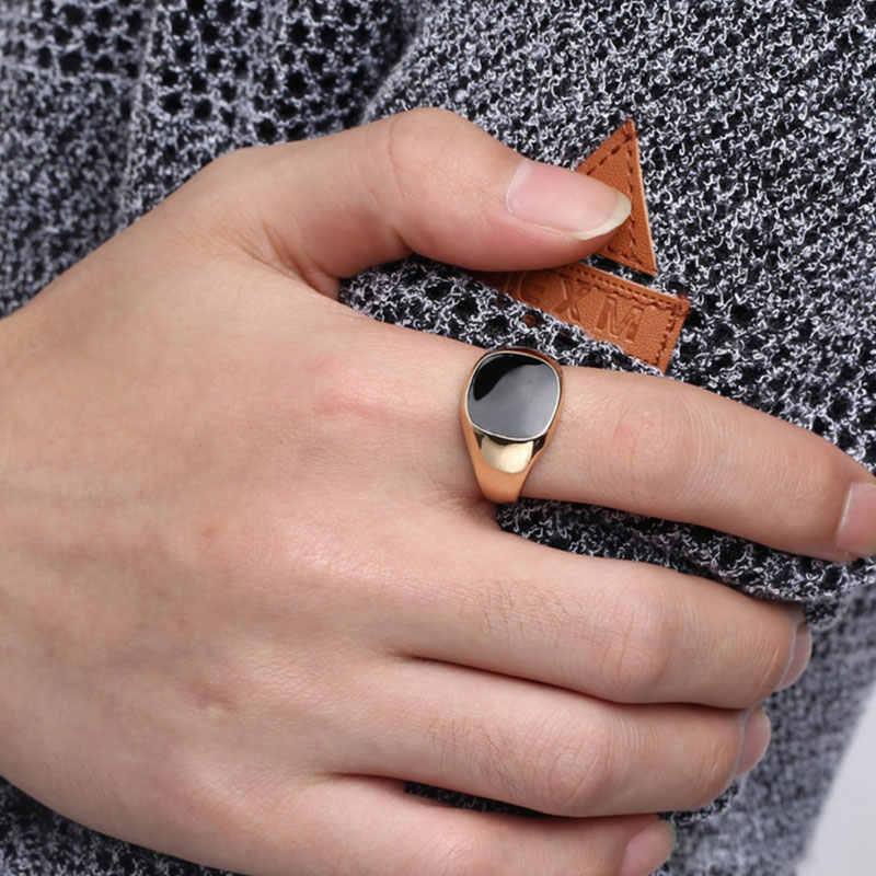 ผู้ชาย Vintage แหวนเงินทองชุบเคลือบสีดำแหวน Punk Classic สีดำหยดเลียนแบบหินสีดำชายเคลือบงานแต่งงานแหวน