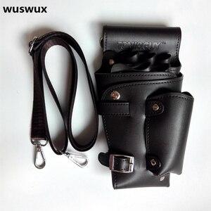 Image 5 - PU Leather Rivet Hair Scissor Bag Clips Bag Hairdressing Barber Scissor Holster Pouch Holder Case with Waist Shoulder Belt Brown