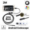 2MP 8mm HD720P Android OTG USB Endoscópio Camera 2 M Flexível Cobra USB Android Telefone À Prova D' Água Câmera de Inspeção Endoscópio 6LED