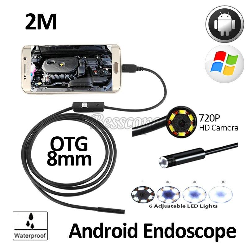 2MP 8mm HD720P Android OTG USB Endoscope Caméra 2 M Flexible Serpent USB Android Téléphone Étanche D'inspection Endoscope Caméra 6LED