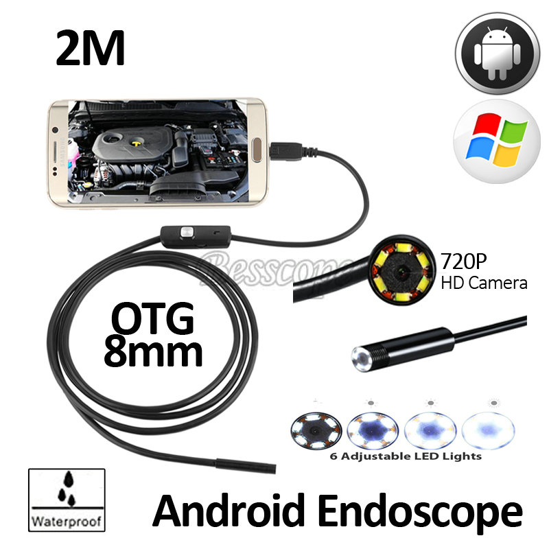 bilder für 2MP 8mm HD720P Android OTG USB Endoskop Kamera 2 Mt Flexible Schlange USB Android-Handy Wasserdicht Inspektion Endoskop Kamera 6LED