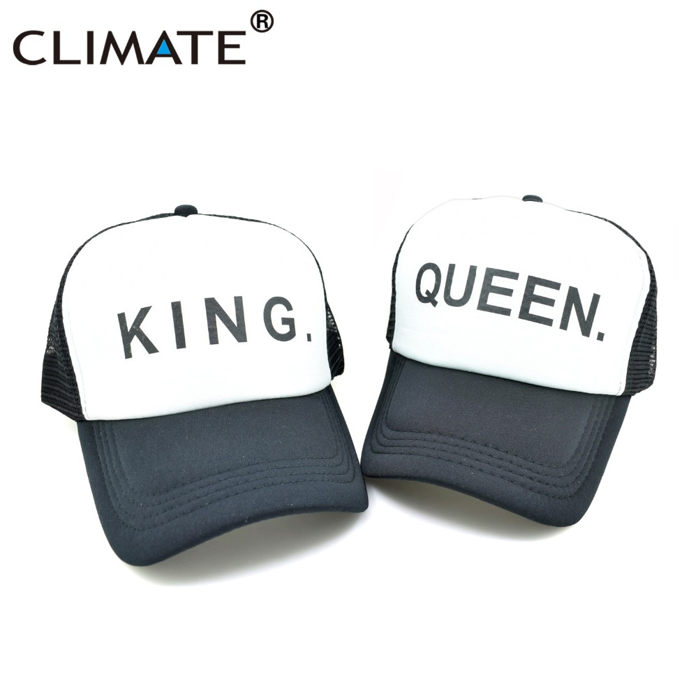 CLIMATE King Queen Cool Summer Mesh Caps Instagram Star Men Women Youth Black Cool Men Mesh Net Summer Cool Trucker Hat Caps climate new summer cool black mesh trucker caps guardians of the galaxy groot fans printing meh youth nice mesh cool summer caps