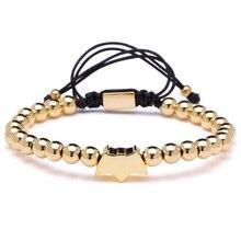 Mcllroy Pulseira 6mm Round Beads Gold Batman Charms Bracelet Braiding Bracelet For Party For Party Gift Bracelets Men Women
