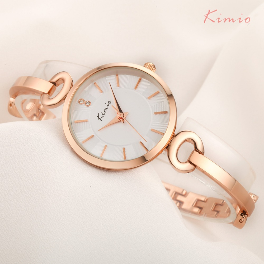 KIMIO Tunna Etui Enkelt Dubbelvalsklocka Armband Och Bangle Kombinationsband Kvinnor Klockor 2018 Ladies Rose Gold Watch Woman Cheap