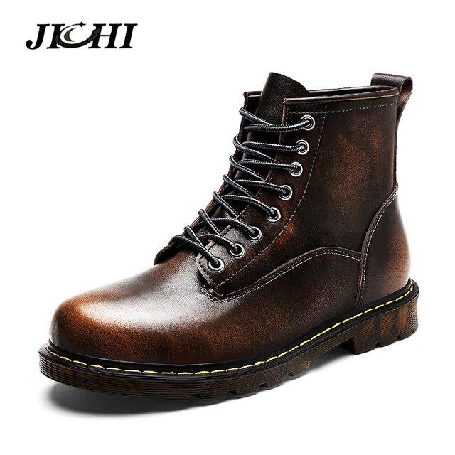 JICHI yüksek kalite hakiki deri Sonbahar Erkek Botları Kış Su Geçirmez yarım çizmeler Martin Çizmeler Açık iş çizmeleri erkek ayakkabısı