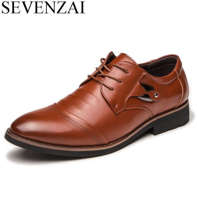 US $24.85 14% OFF|Italienische herren schuhe leder luxus marke spitz schuhe männlichen mode freizeit business kleid klassische oxfords schuhe für