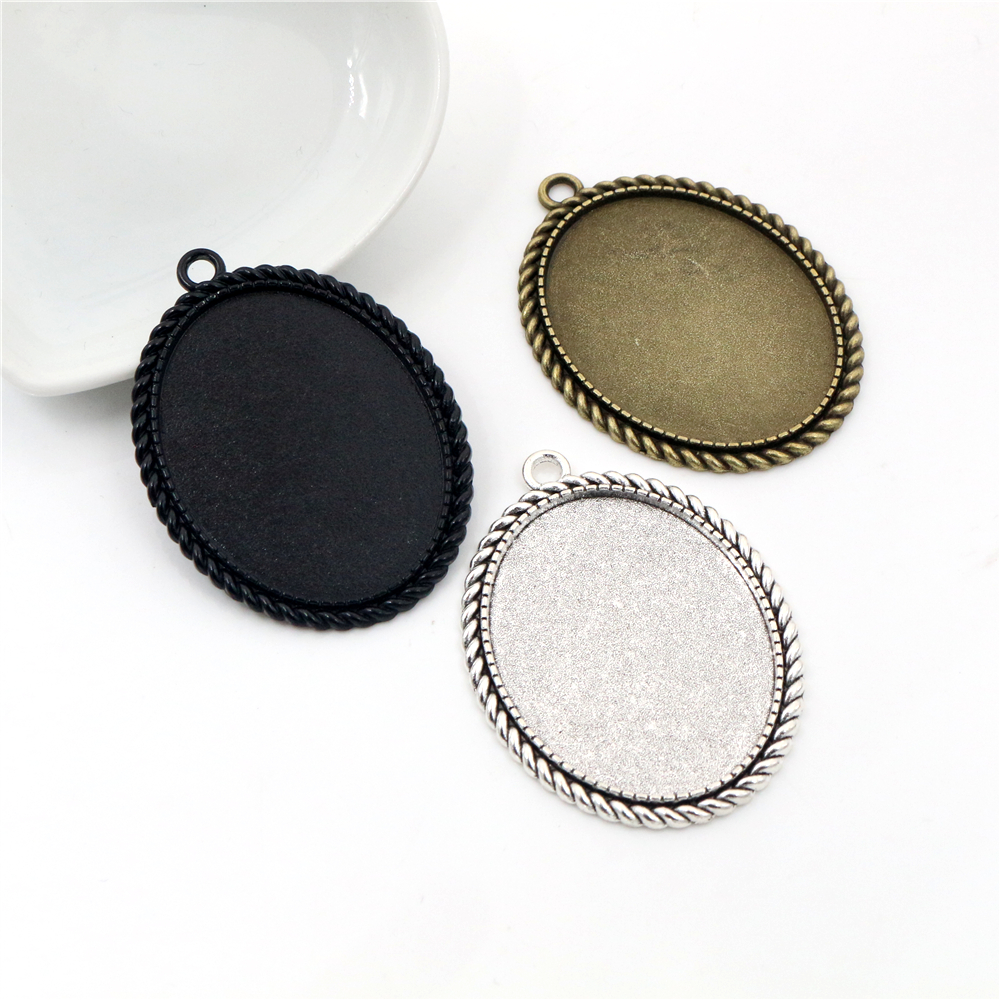 New Fashion 5pcs 30x40mm Inner Size Antique Silver Bronze And Black Simple Style Cabochon Base Setting Pendant