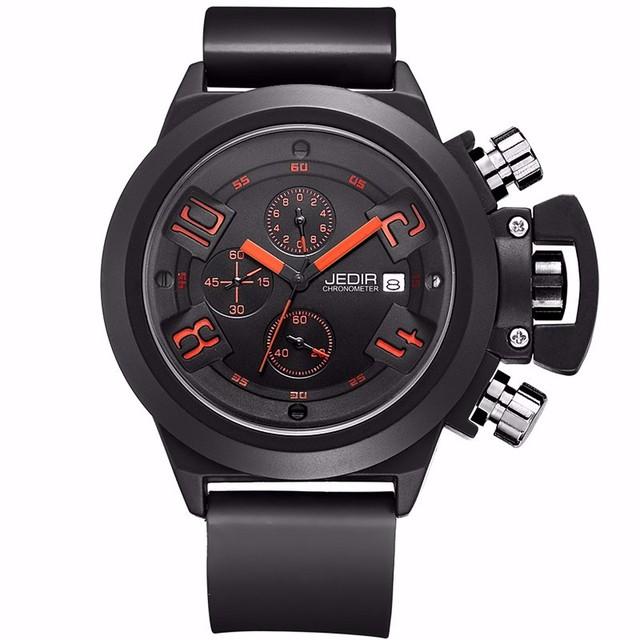 Jedir caliente de Lujo Marca Relojes Militar Hombres de Cuarzo Analógico 3D Cara de Cuero Reloj Hombre Relojes Deportivos Militar Reloj Relogios