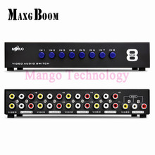 8 Ports Composite 3 RCA Video Audio AV Switch Switcher Box Selector 8 In 1 Out 8×1 for HDTV LCD Projector DVD