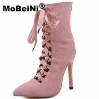 Black Punk Elegant Women Cut Out Hollow Lace Up Ankle Boots Fromal High Heel Sandals Boots