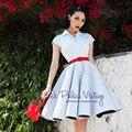 БЕСПЛАТНАЯ ДОСТАВКА Le palais ограниченным тиражом старинные элегантный светло-голубой кнопки полоса тонкий цельный платье