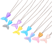 Sparkling Mermaid Fish Tail Pendant Necklace Steel Chain Multicolored Whale Choker Collar Jewelry Gifts
