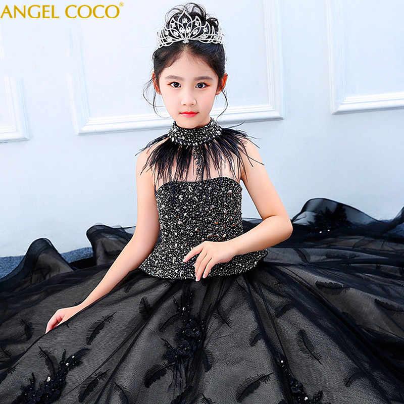 3ef5618b4fa Для девочек Блестящие платье принцессы вечернее платье осень-зима модели  показывают черное перо детский костюм
