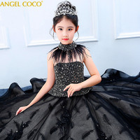 Girls Shiny Princess Dress Evening Gown Autumn Winter Models Show Black Feather Children's Costume Teenager Prom Designs Cloths