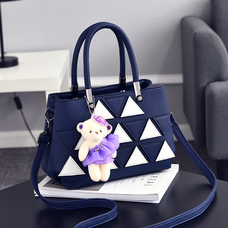 Elegant Casual Royal Blue PU Women Shoulder Bag Fashion Office Lady Handbag Triangle Leather Decoration Crossbody Messenger