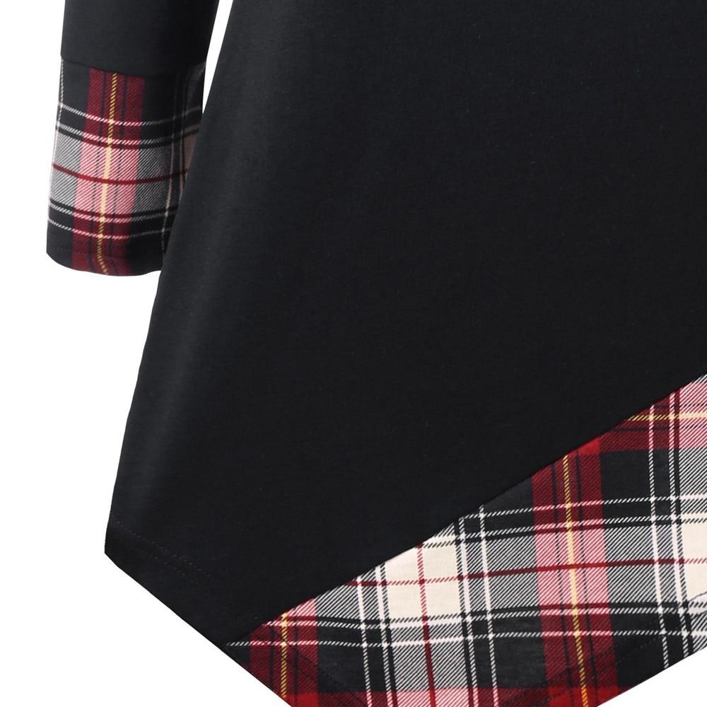 1e0548fb648 Feitong Fashion Women Long Sleeve Tunic Tops 2018 5XL Plus Size Plaid  Lattice Asymmetric Tops And Blouse camisa feminina manga-in Blouses   Shirts  from ...