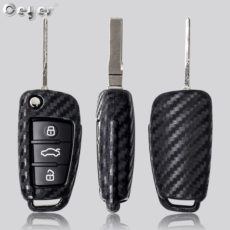 Image 5 - Ceyes Car Styling Auto Fold Carbon Fiber Grain Shell Protection Cover Case For Audi A3 A4 TT A4L A6L Q7 Q5 A5 A7 Car Accessories-in Car Stickers from Automobiles & Motorcycles
