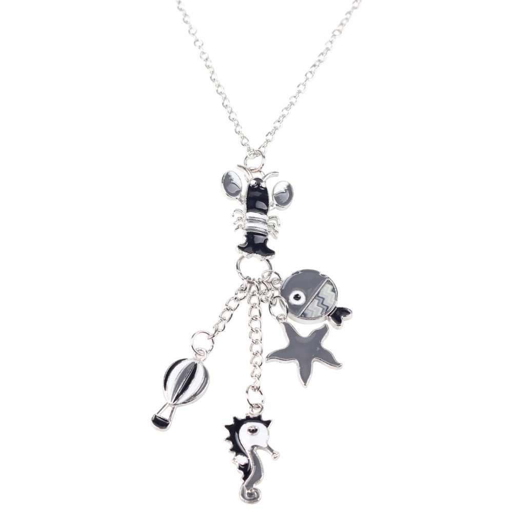 Bonsny Enamel Alloy Ocean Hippocampus กุ้งปลาสร้อยคอสร้อยคอสร้อยคอสร้อยคอสร้อยคอแฟชั่นเครื่องประดับสำหรับผู้หญิงของขวัญ