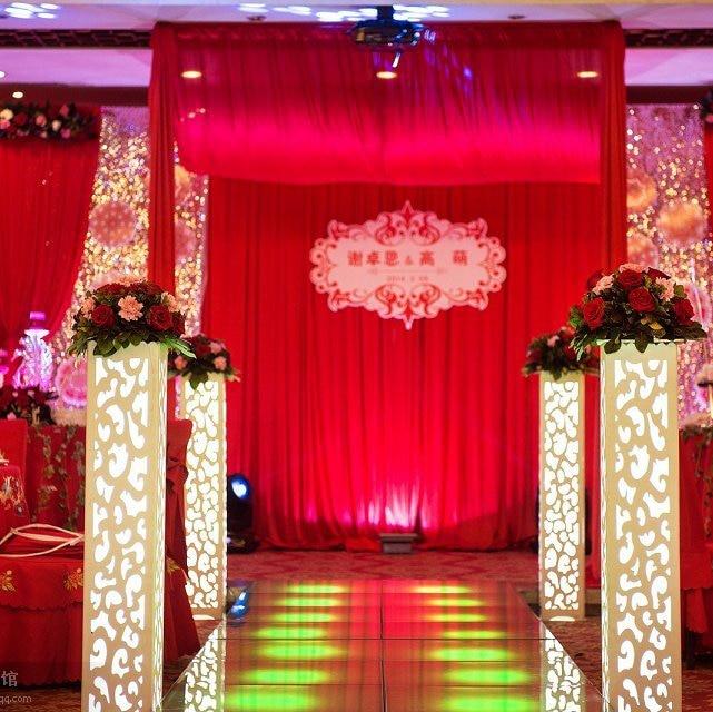 4PCS/LOT Wedding White PVC Columns with LED Lights Wedding Stand Roman pillar