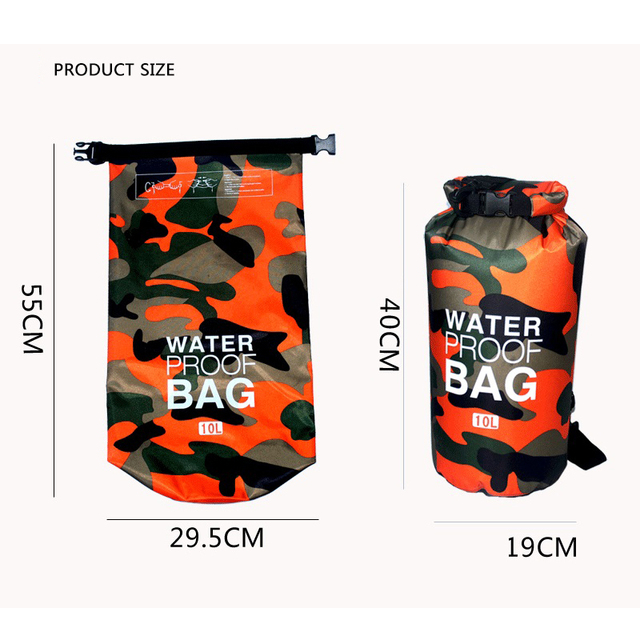 Outdoor Camouflage Portable Rafting Diving Dry Bag Sack PVC Waterproof Folding Swimming Storage Bag for River Trekking 2/5/10L 4