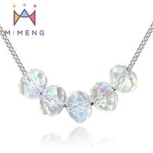 AAA 100% 925 Sterling Silver Necklaces Crystal Strung Happiness Necklaces & Pendants Silver Jewelry FREE SHIPPING