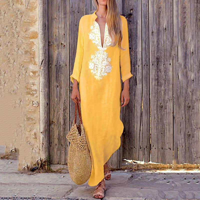 Nouvelle mode femmes Boho à manches longues Maxi robe dames décontracté vacances plage fête soirée été plage robe d'été