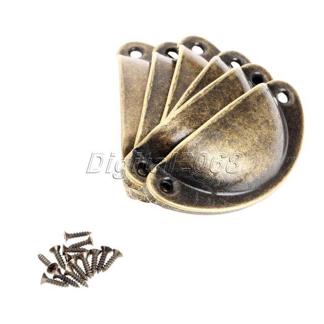 6pcs Antique Brass Shell Jewelry Box Pulls Cabinet Cupboard Dresser