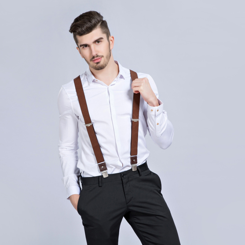 2019 New Man's Braces 3 Clips Leather Suspenders Casual Suspensorios Trousers Strap Gift For Dad High Quality Tirantes