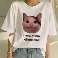 Nouveau mignon chat T-shirt femmes décontracté drôle dessin animé impression T-shirt Harajuku Kawaii mode T-shirt d'été à manches courtes top T-shirts femme