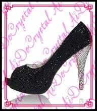 Aidocrystal 2016 Frauen Sommer Schwarz Kristall Pumps Sandalen Damen Sexy Peep Toe Schuhe