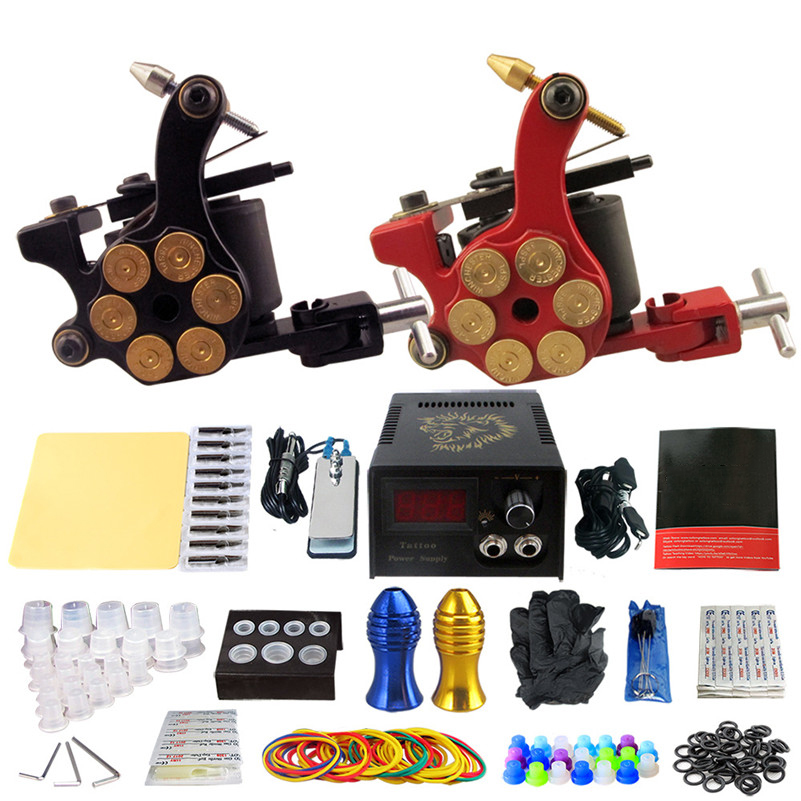 Complete Tattoo Kit 2pcs Coil Tattoo Machine Tattoo Guns Liner Shader Power Supply Needles Tips Grips  For Tattoo Artists professional tattoo kits liner and shader machines immortal ink needles sets power supply