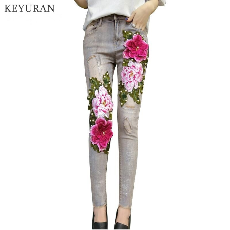 New 3D Flowers Embroidered Stretch Women Denim Jeans With Floral Embroidery Skinny Denim Pencil Pants Lady Ripped Trousers L1239