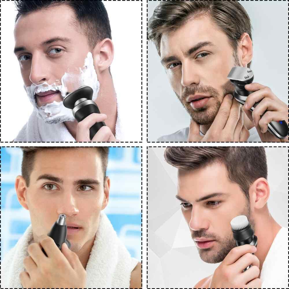 Maquinilla de afeitar eléctrica rotativa 4 en 1 para hombre, Kit de aseo recargable USB para Barba, afeitado seco húmedo máquina