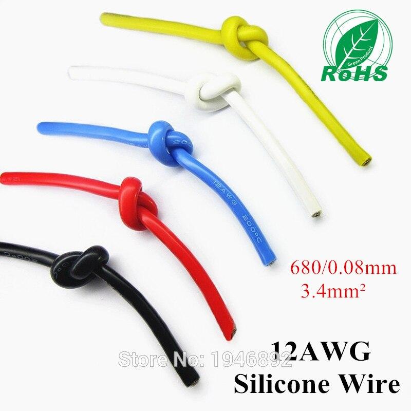 12AWG Flexible Silicone Fil RC Câble 12AWG 680/0. 08TS Diamètre Extérieur 4.5mm 3.4mm Carré Modèle avion Fil tns