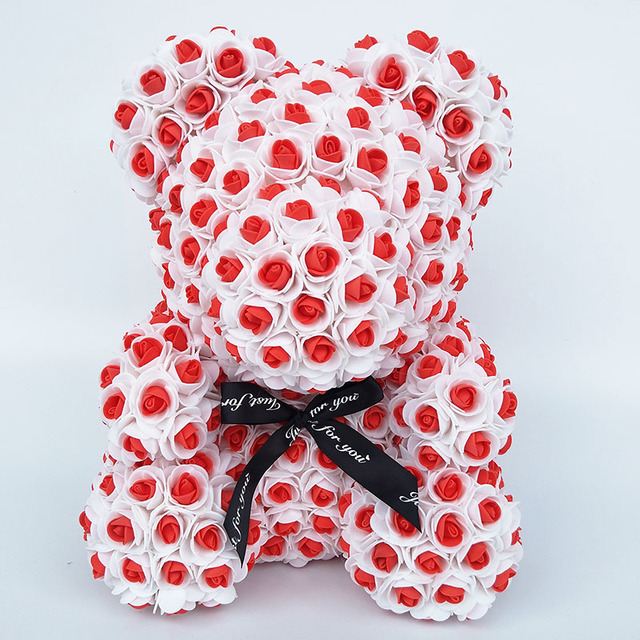 ''Just For You'' Anniversary Rosey Bunch Rose Bear Box - novariancreations.com